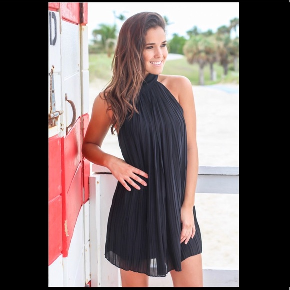 350df2731d9 Black High Neck Pleated Dress